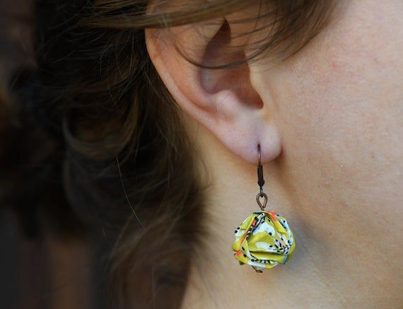 Photo of Origami Japanese paper mustard and coral earrings