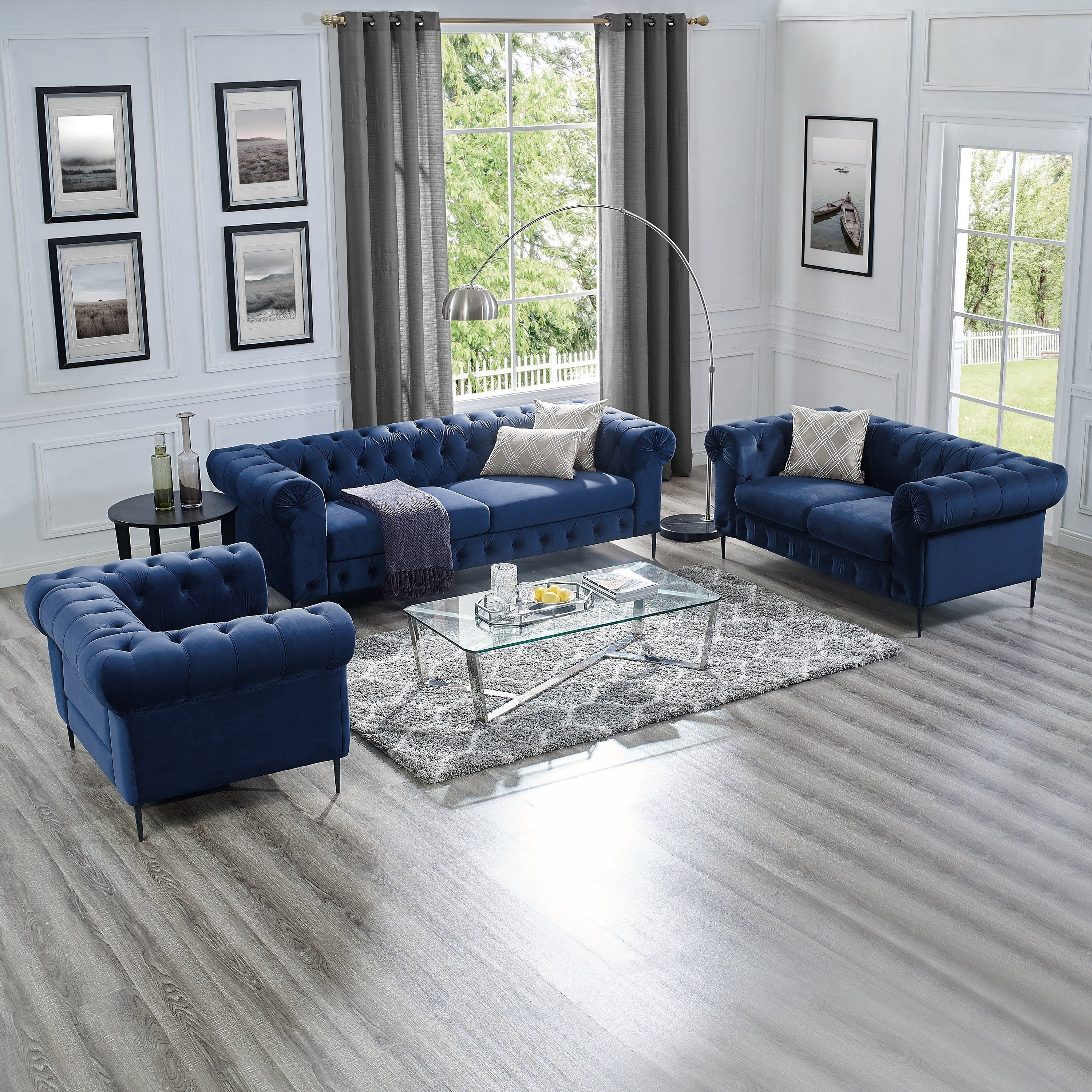 Corvus Prato 3 Piece Tufted Velvet Sofa Rolled Arms Living Room Set Navy Blue Blue Sofas Living Room Blue Furniture Living Room Blue Living Room Sets