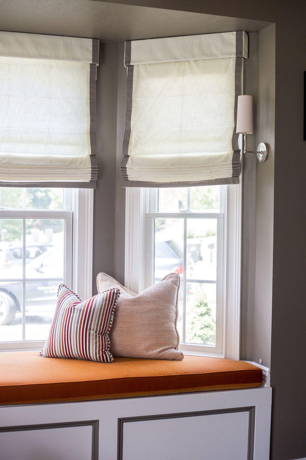 window seat, roman shades, window seat cushion, home office | alisha ...