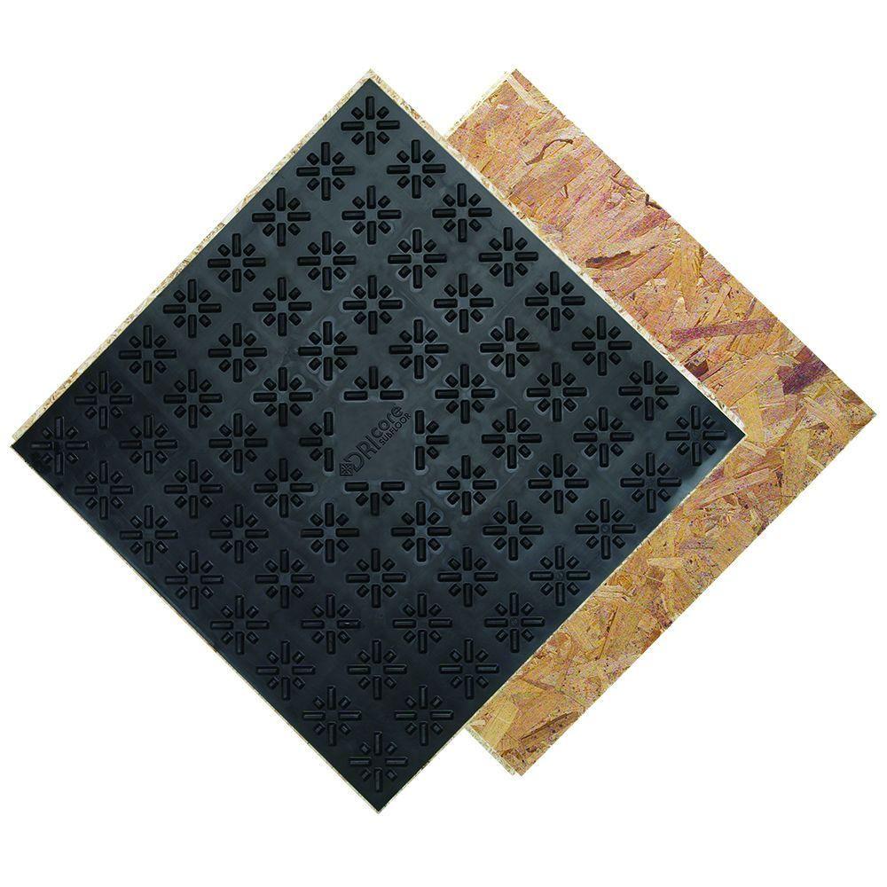 Dricore Subfloor Membrane Panel 3 4 In X 2 Ft X 2 Ft Oriented Strand Board Fg10006 Basement Flooring Floor Insulation Flooring