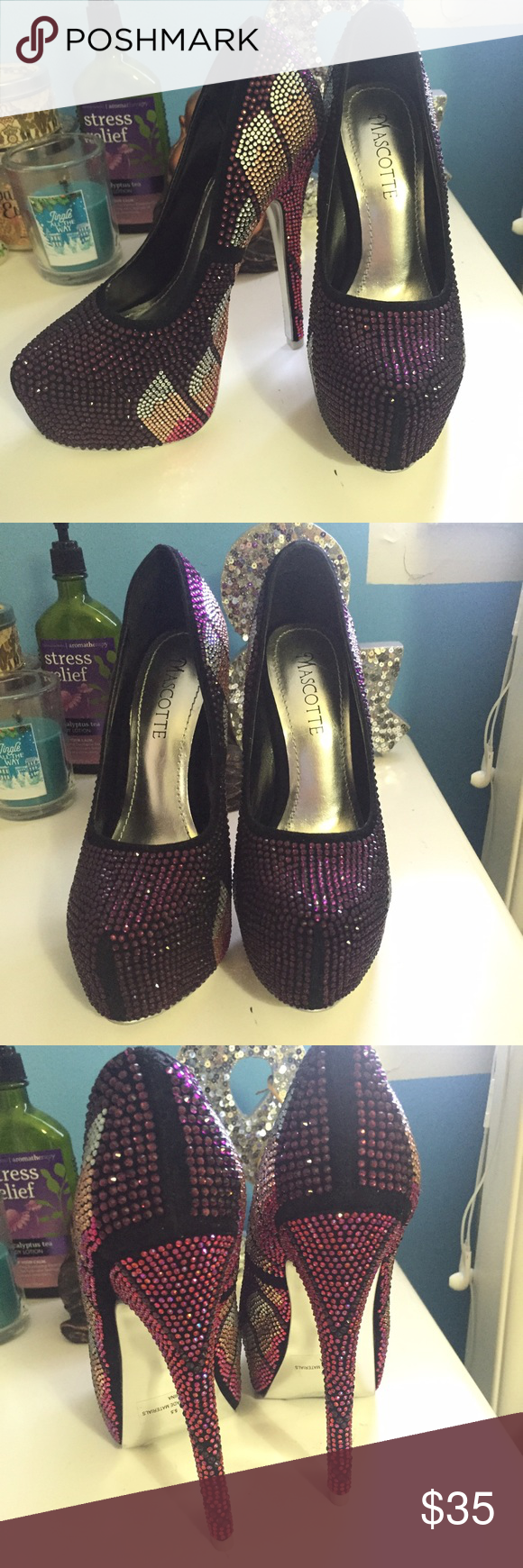 BEJEWELED HEELS SIZE 5. Perfect condition. Never worn. Open to offers. Steve Madden Shoes Platforms
