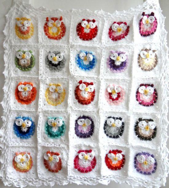 Owl Granny Square Afghan Pattern Free Crochet Pinterest