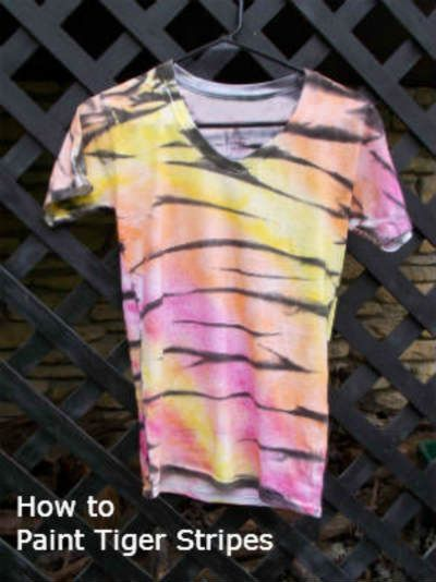 How To Paint Tiger Stripes On A T Shirt Tiger Stripes Tiger Costume Diy Tiger Costume