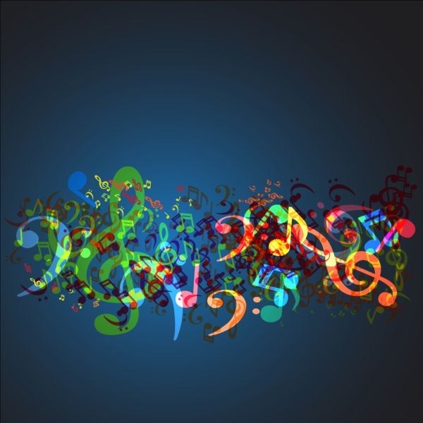 colored music notes with blue background vector blue backgrounds