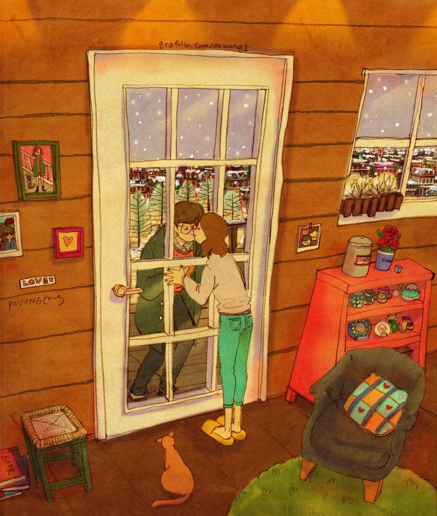 puuung-love-is-illustration-art-book-cosmic-orgasm-lovers-daily-life-small-things-kiss-door