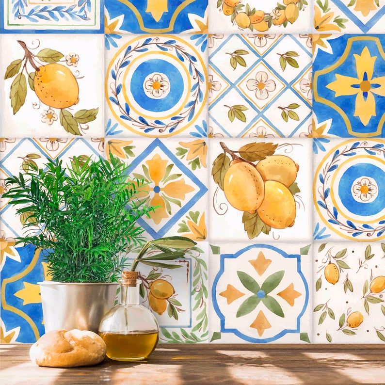 Spanish Tile Wallpaper Peel And Stick And Pre Pasted Paper Etsy Tile Wallpaper Paper Wallpaper Spanish Tile