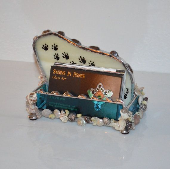 Paw Prints Business Card Holder Beach Office Gifts