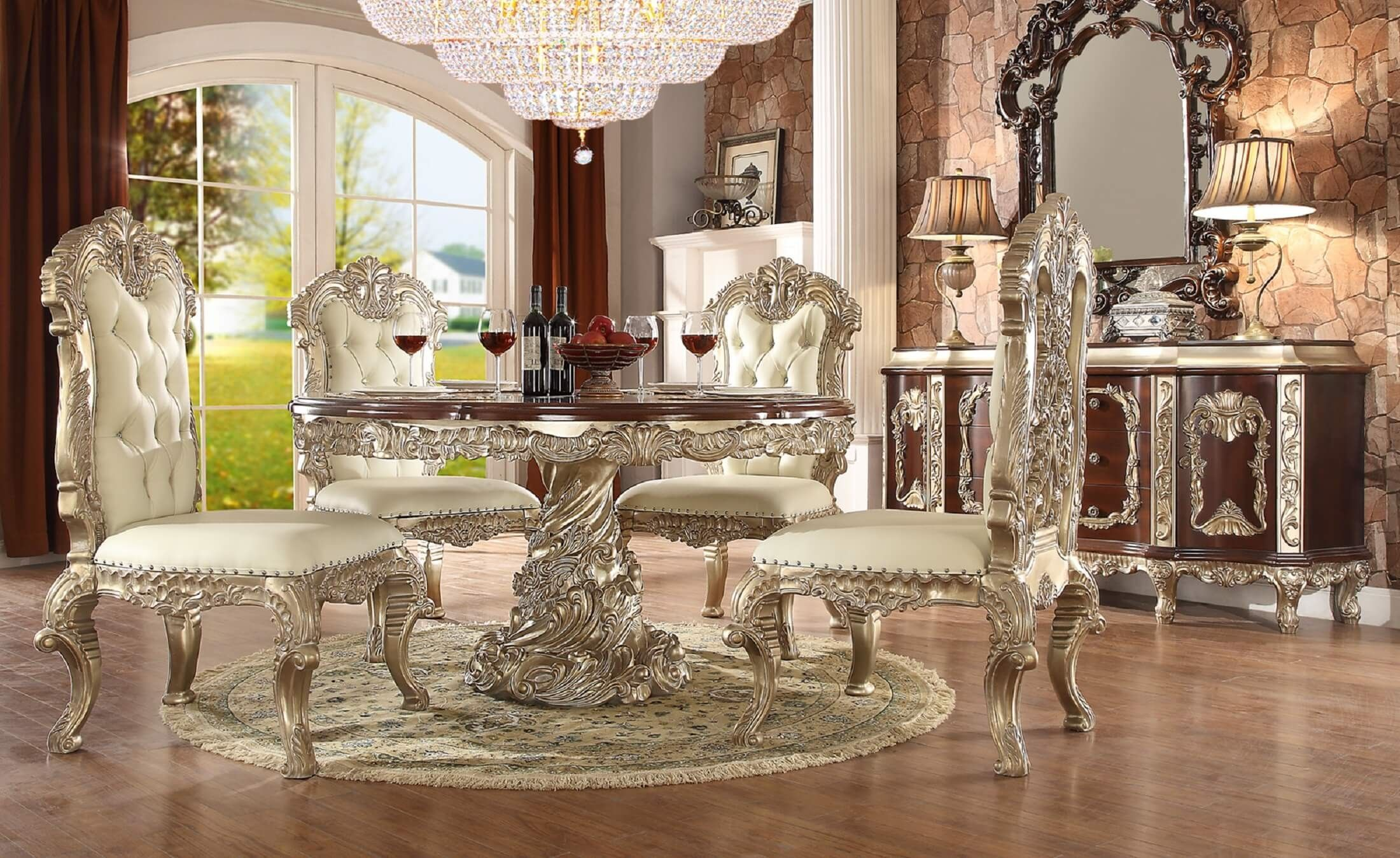 Homey Design HD 8017 Cleopatra Round Dining Set The Elaborate Designs Of  Old World Europe