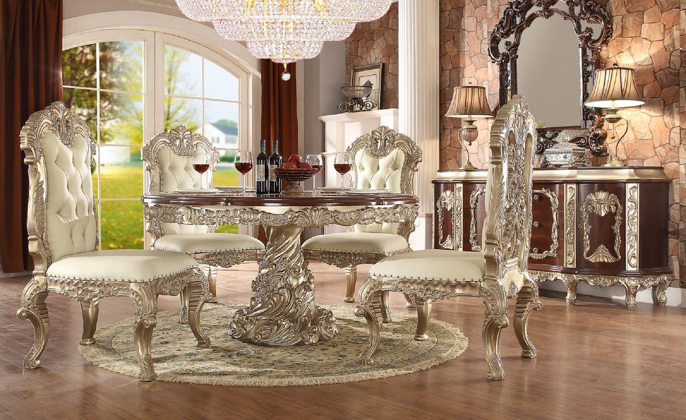 Homey Design Hd 8017 Cleopatra Round Dining Set Round Dining