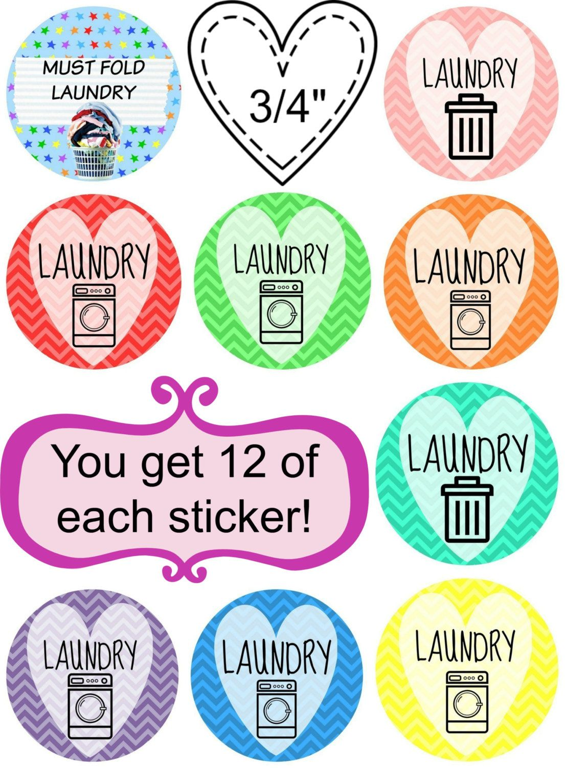 108 Planner Stickers -- Laundry Printable Planner Sticker Bundle by OrganizedHooker on Etsy