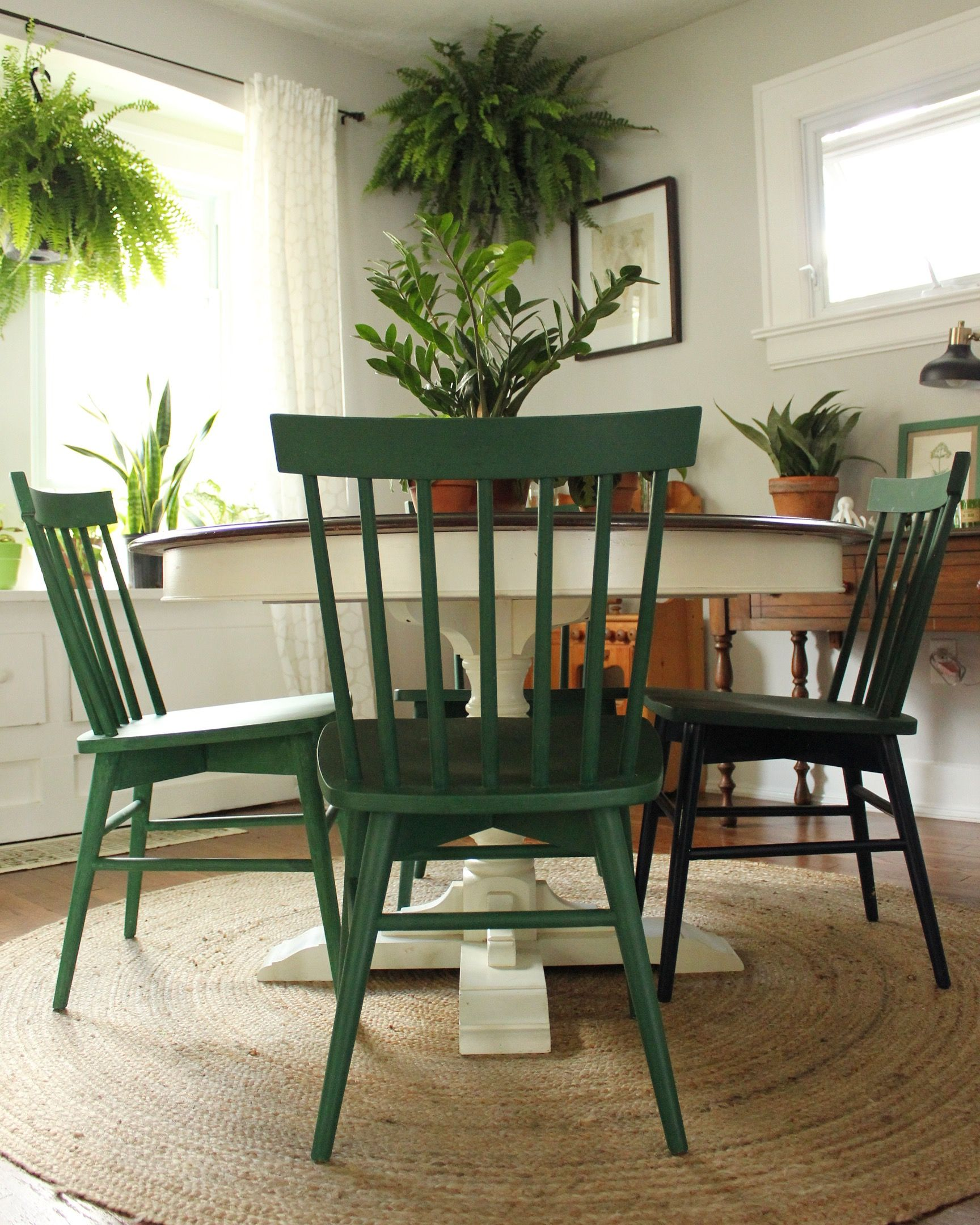 Chairs Painted In A Mixture Of Annie Sloan Chalk Paint In Amsterdam Green And Antibes Green Dining Chairs Upcycled Dining Chairs Painted Dining Table