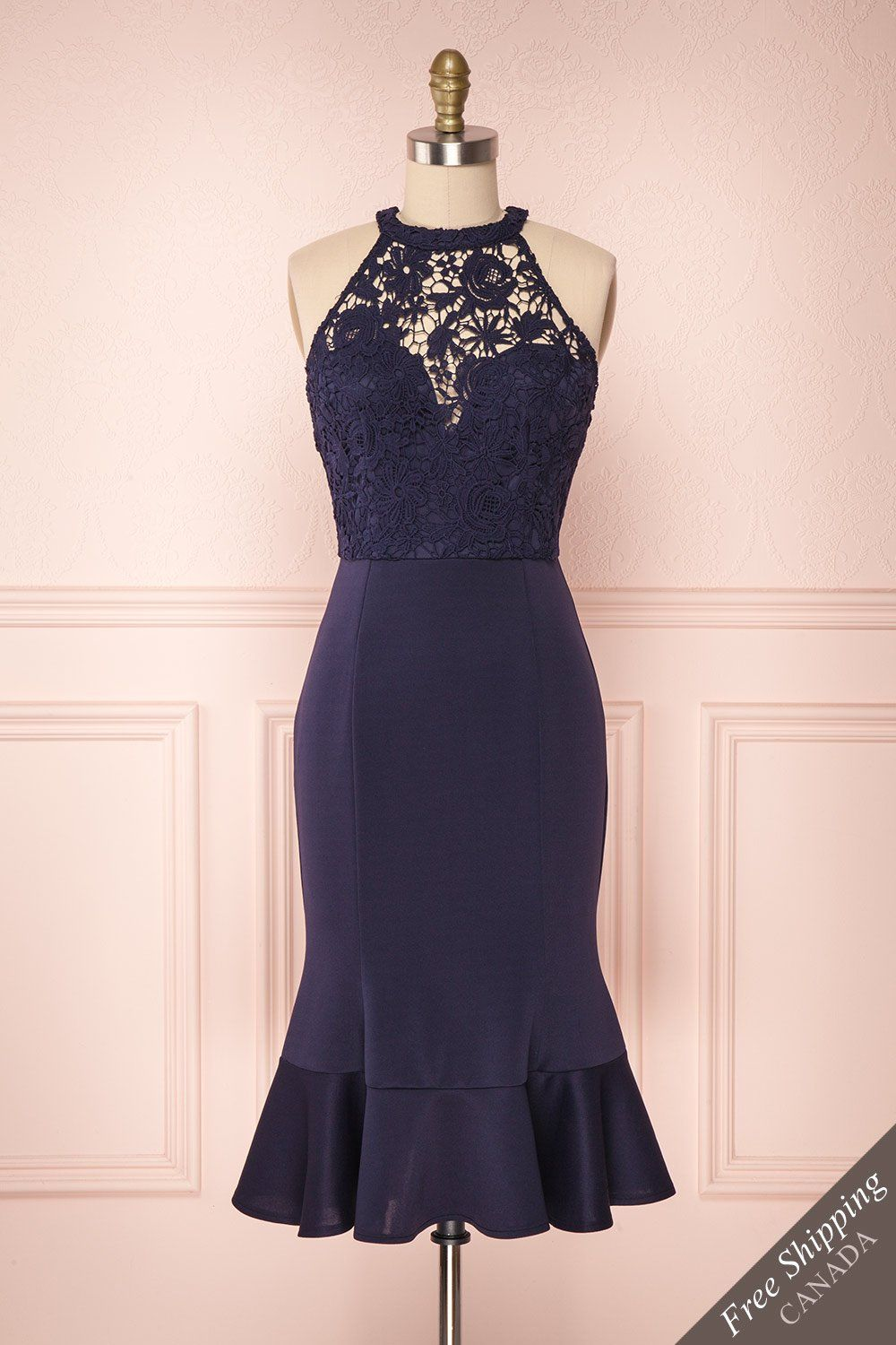 f70fe7c0bf Miteki Navy Lace Halter Midi Cocktail Dress