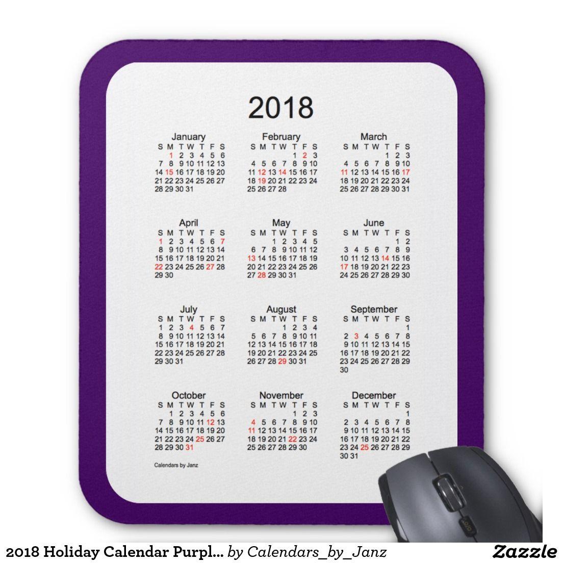 2018 Holiday Calendar Purple Mouse Pad