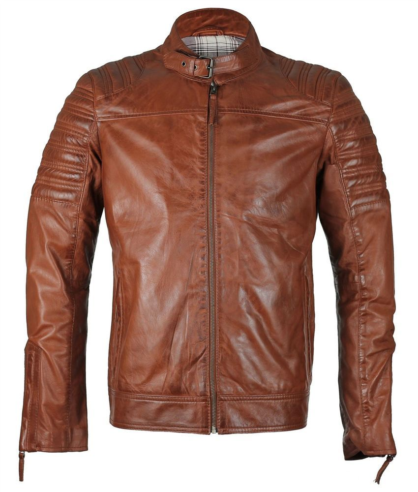 Mens Real Soft Leather Fitted Tan Biker Retro Jacket Urban