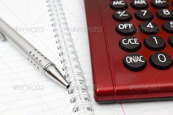 Pen Calculator And Notebook Close Up   Agenda Appointment