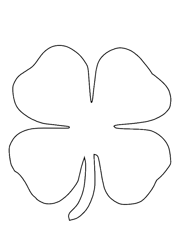 Four Leaf Clover Coloring Pages Printable Png 600 750 Pixels Clover Leaf Coloring Pages Four Leaf Clover