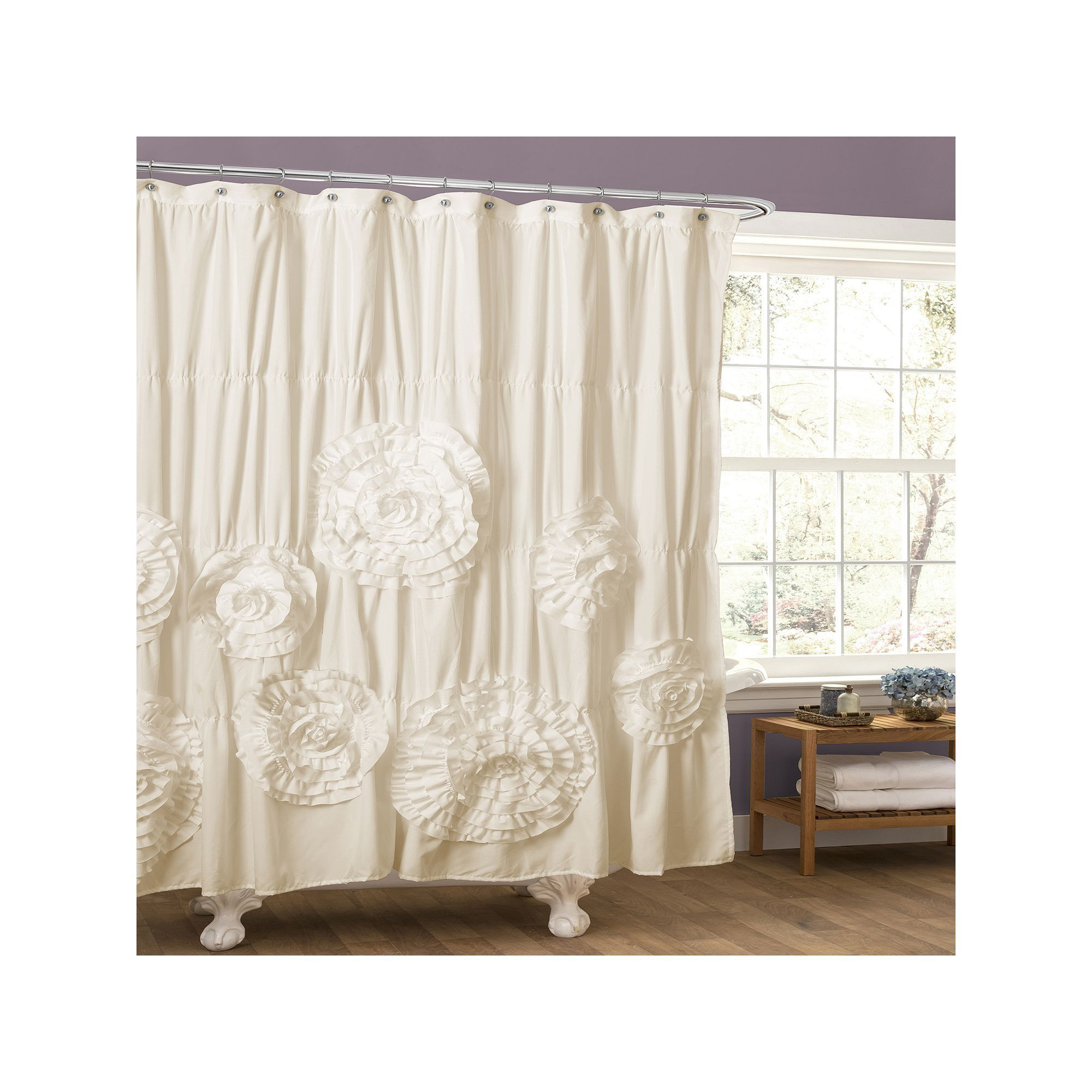 Lush Decor Serena Fabric Shower Curtain White White Shower Curtain Shabby Chic Bathroom Stylish Curtains
