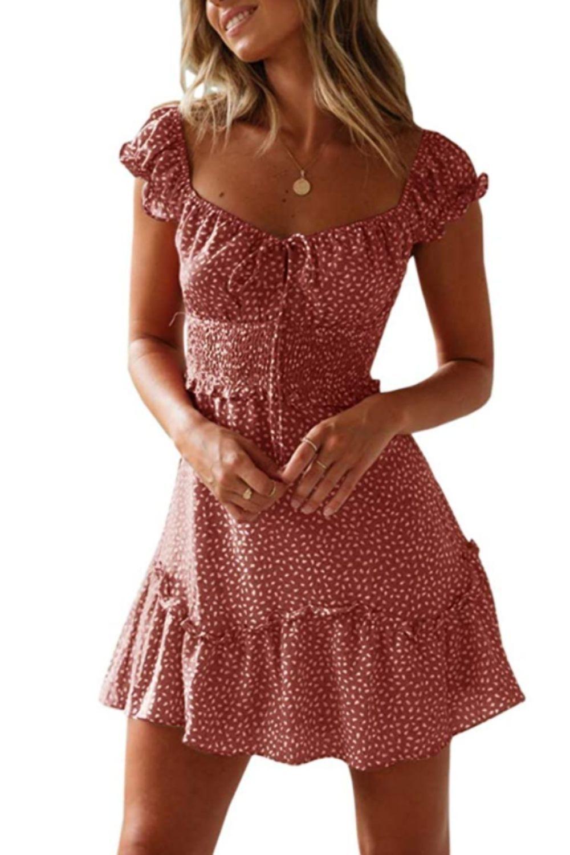 Yobecho Women S Summer Ruffle Sleeve Sweetheart Neckline Printing Dress Mini Dress Mini Dress Boho Dress Short Mini Dresses Online [ 1500 x 1000 Pixel ]