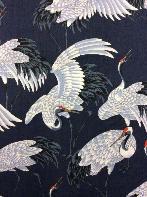 Cranes Elegant White Birds On Navy Wings Cotton Fabric Quilt Fabric Kb09 09 Japanese Art Asian Art Fabric Birds