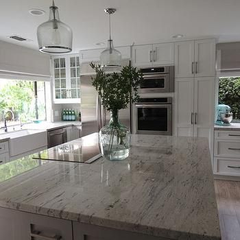 Nice River White Granite Countertops, Transitional, Kitchen, Sherwin Williams  Dorian Gray, K Sarah Great Pictures