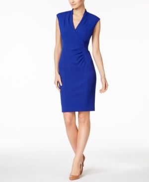 8293c834 Calvin Klein Petite Ruched Scuba Sheath Dress - Blue 12P | Products ...