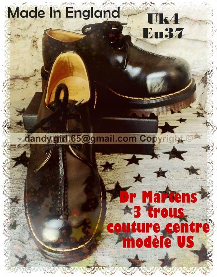 6cfa9dfbd765 Dr Martens basses noire neuves 3 trous - rares - coutures au centre coquées  made in england ! ☠ Dr. Martens Collection Personnelle ☠ Pas à vendre ☠    ...