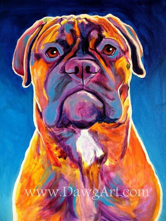 0faf1ef0d1a Print of Colorful Bullmastiff Dog Painting by Alicia VanNoy Call. Original  was acrylic on canvas. This bright artwork will make a wonderful