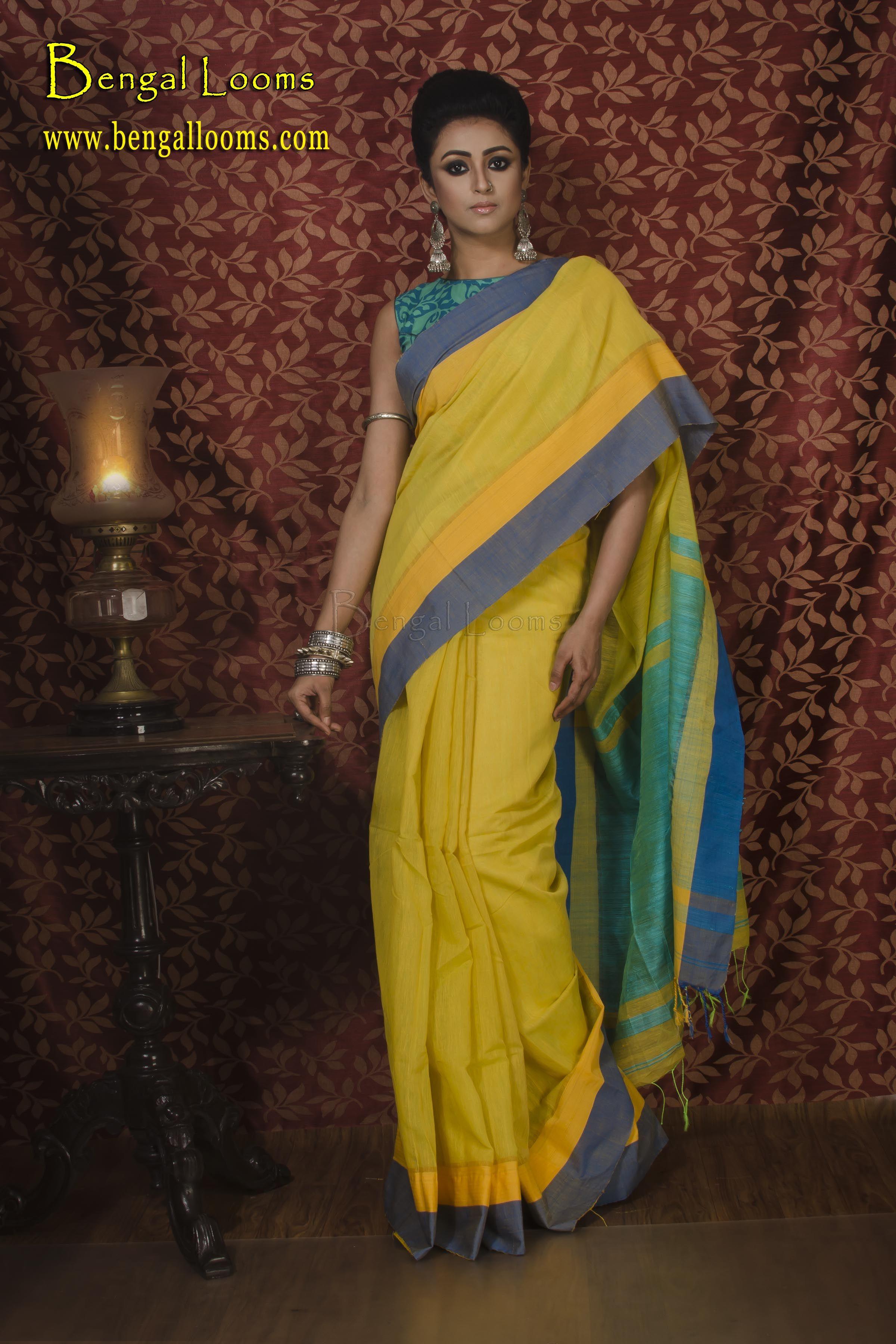 886342e5f3b727 Khadi Soft Cotton Saree in Yellow and Green | Khadi Sarees in 2019 ...