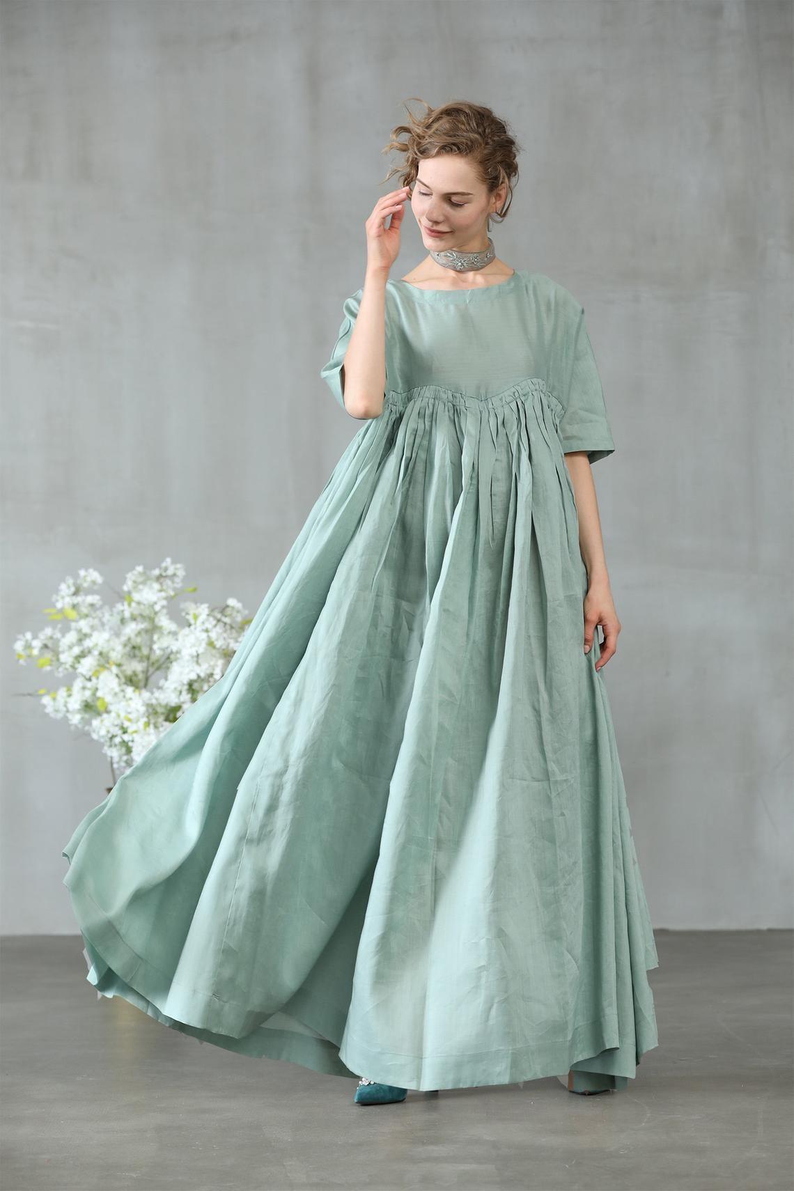 linen dress, dress in aqua green, maxi dress, maxi linen dress, ruffle dress, princess dress, oversized dress, wedding dress | Linennaive®