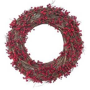"""• Red tallow berry and vine accents    • Hand crafter    • 21.25"""" diameter    • Indoor or sheltered outdoor use"""