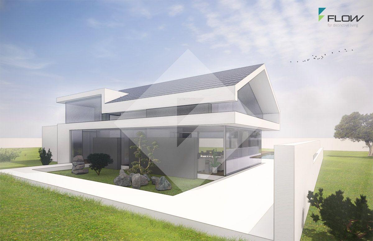 Architektenhaus satteldach in moderner architektur bauen for Haus mit satteldach modern