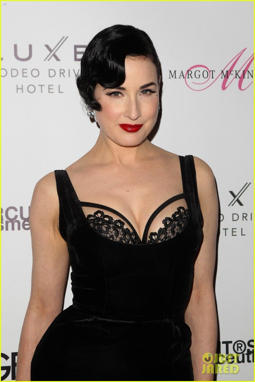 6efb8463c75 Dita Von Teese Shows Off Bra at  Genlux  Issue Release Party! Check out the  short hair.