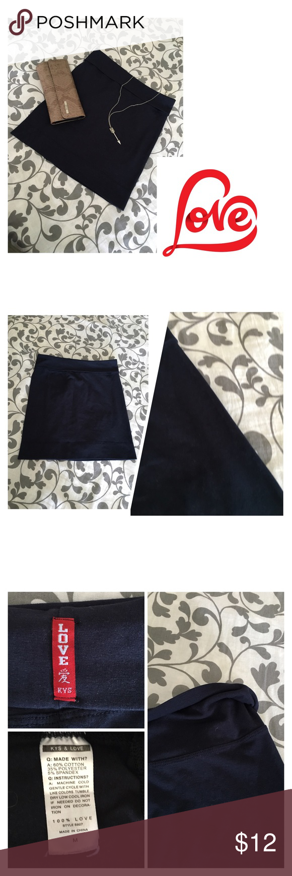 KYS Love navy blue fold waist mini skirt- NWOT Brand new, never worn; no tags. Please see all pictures.   PLEASE, REASONABLE OFFERS ONLY!  -Smoke and pet free - If its $10 or under, I WILL NOT accept offers. -I do not model anything; everything looks different on everyone and I don't wasn't too Jade that. I will put the item on a dress form or find factory pics and provide measurements. -NO HOLDS, NO TRADES, POSH RULES ONLY! KYS Love Skirts Mini