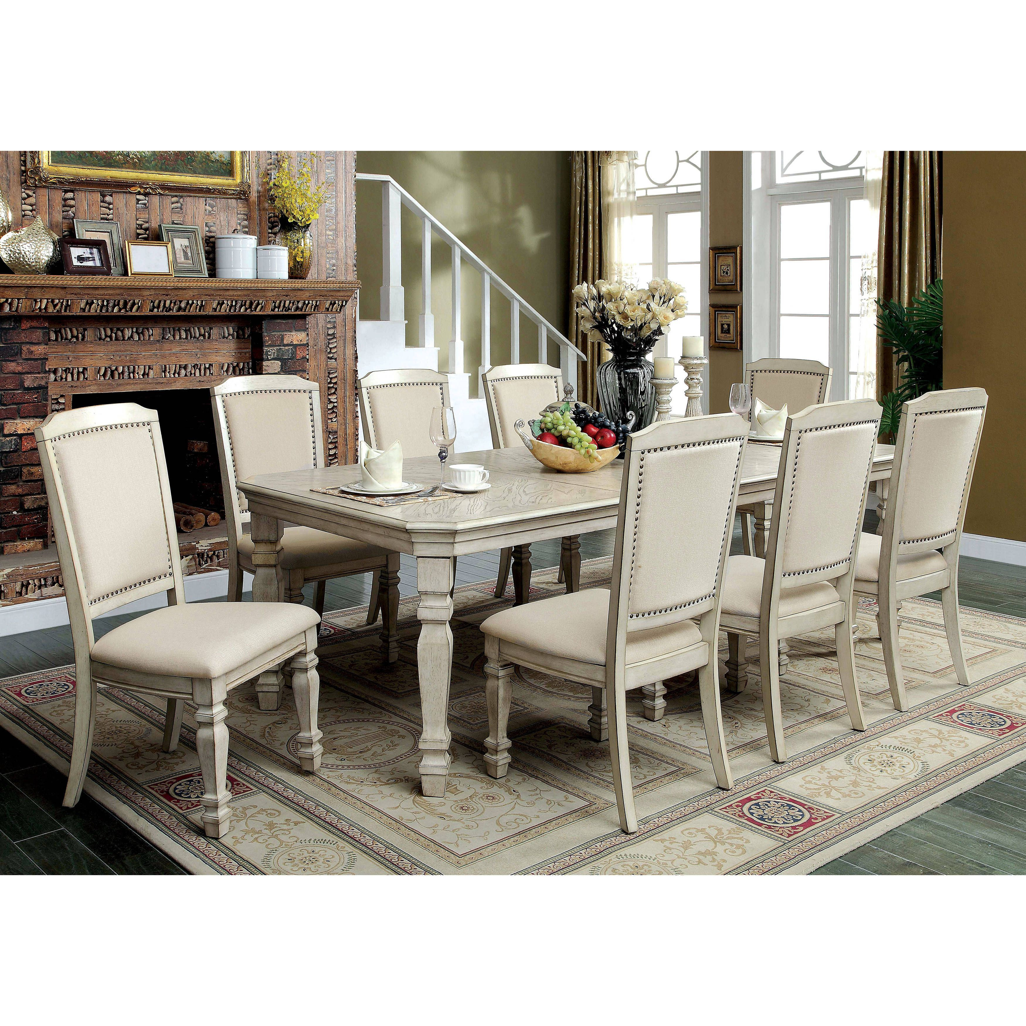 Furniture of America Caplin Traditional 9 piece Antique White Dining