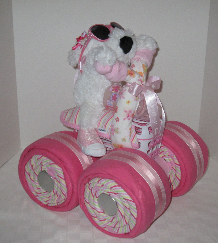 Diaper Cake, 4-Wheeler, Quad Motorcycle Baby Shower,Girl Baby Gift ...