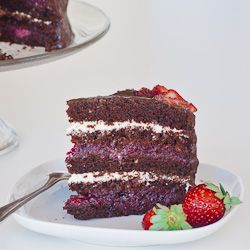 5 Layer Chocolate Cake with Mixed Berry and Cream Cheese Filling - Happy Valentine's Day!