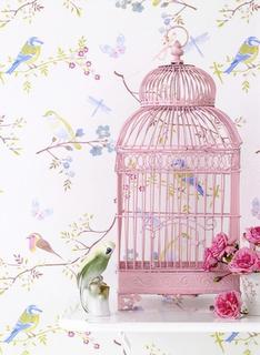 Birdie Cage Birdcage Pink Bird Birds Wallpaper Shabby Chic Style Home Decor Decoracion Jaula Vintage Rosa Loro Parrot Bird Cage Pip Studio Pink Bird