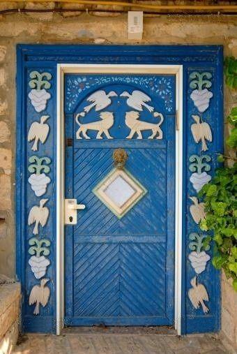 Israel, blue carved door