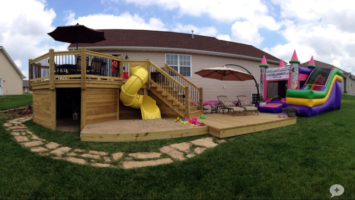 Deck with slide sandbox and playhouse decks backyard
