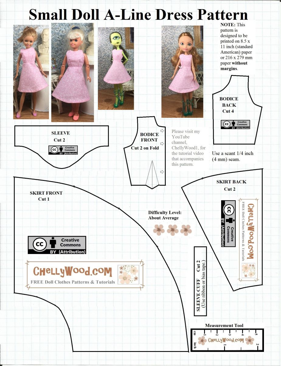 Here We Have My Free Printable Sewing Pattern For The A Line Dress That I Ve De Doll Clothes Patterns Free Free Printable Sewing Patterns Doll Clothes Patterns