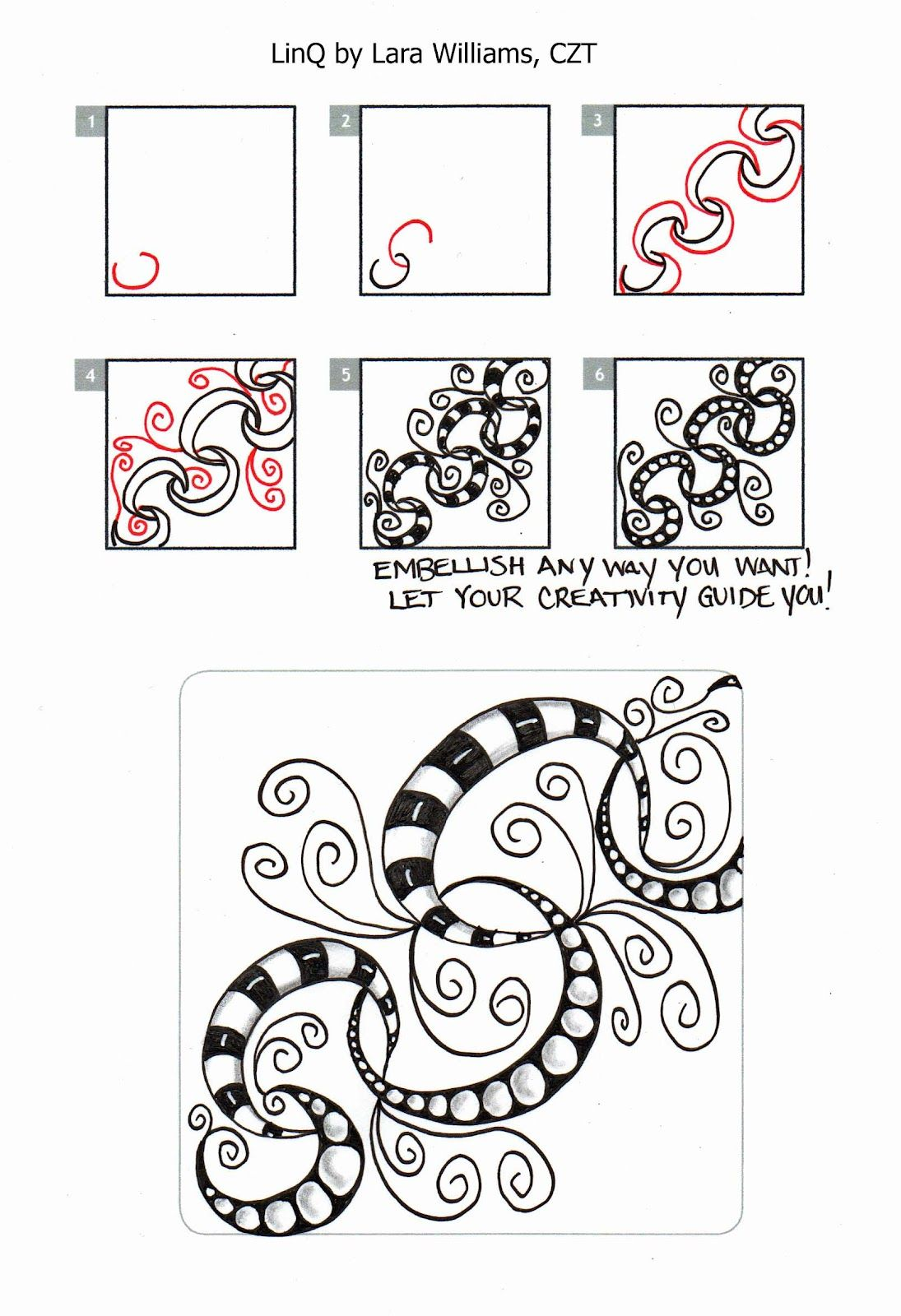 How to draw Laralina: New Tangle: LinQ step out | Tangles I have