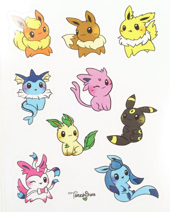 Coloriage Pokemon Famille Evoli.Eeveelution Stickers Autocollants Pokemon Kawaii Par