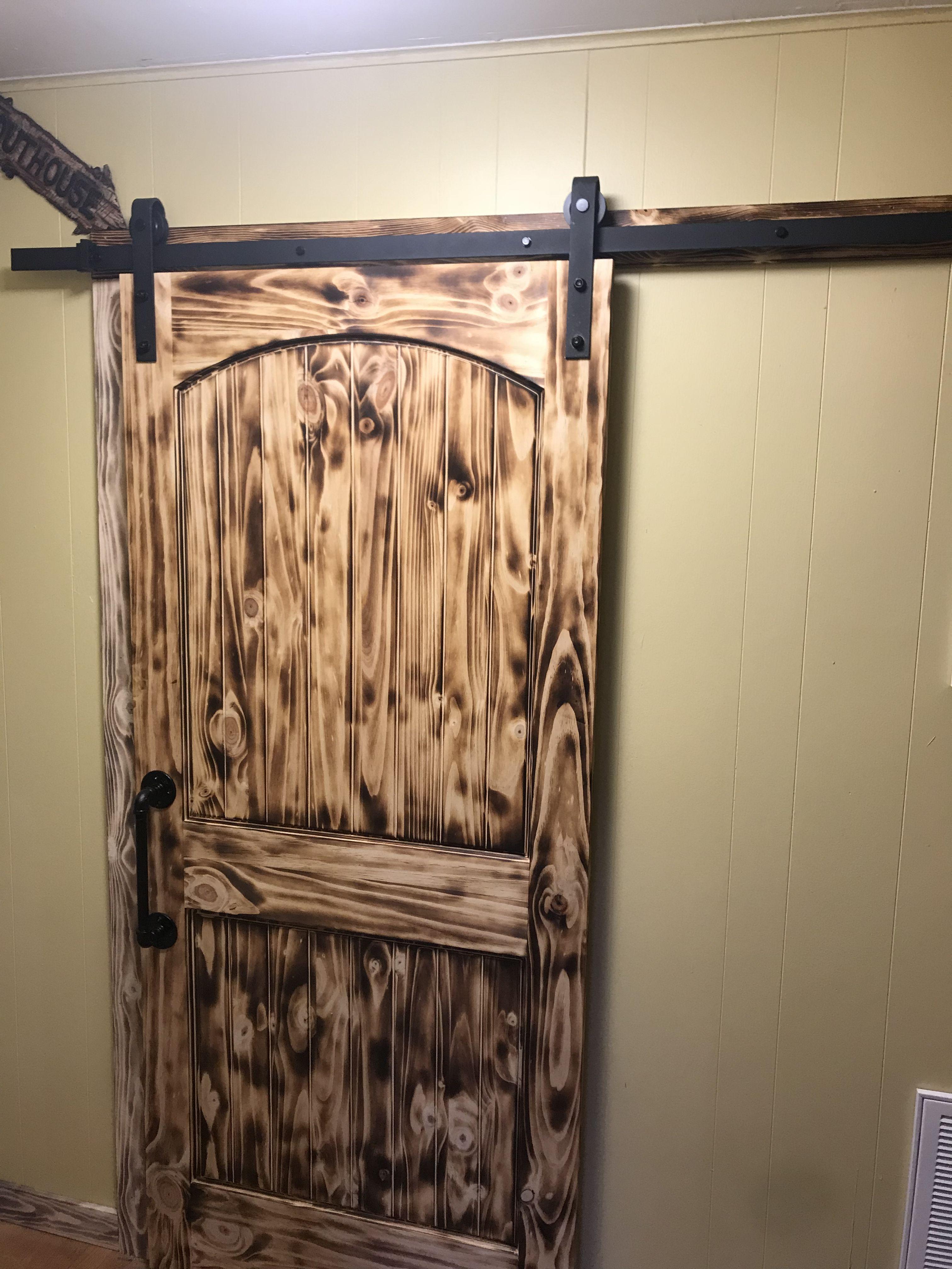 Torched Pine Barn Door Wood Barn Door Torch Wood Barn Door