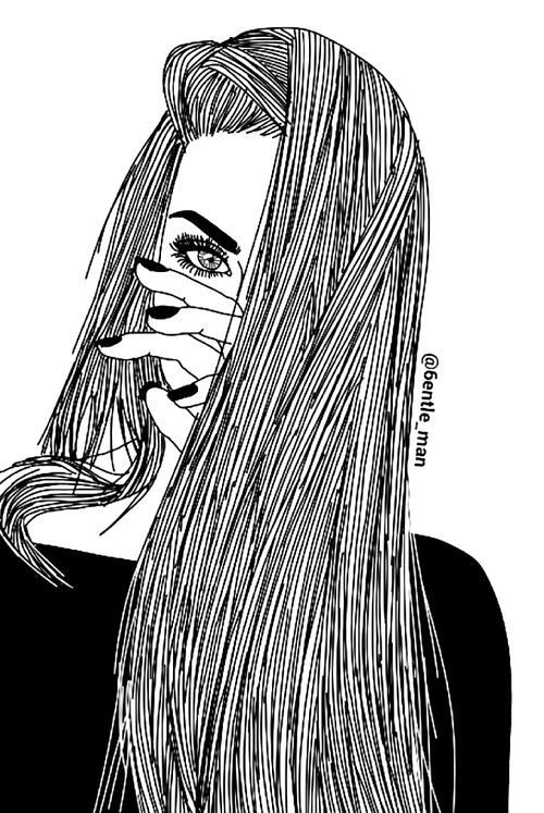 Tumblr Line Drawing App : Girl drawing and black white image planner art