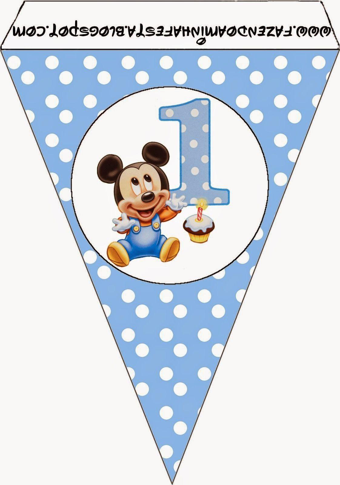 Mickey primer a o con lunares imprimibles gratis para - Decoracion primer cumpleanos ...