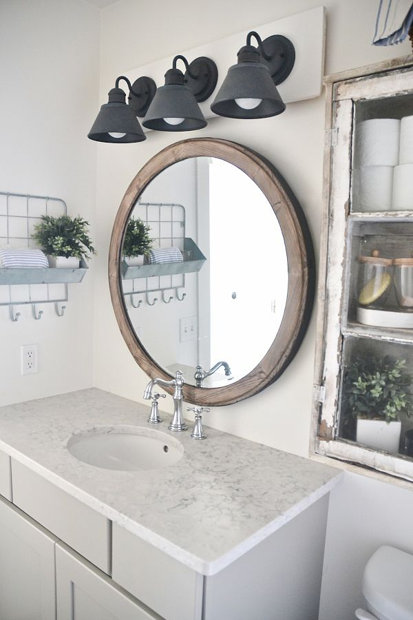 Bathroom Mirrors Farmhouse diy farmhouse bathroom vanity light fixture | vanity light