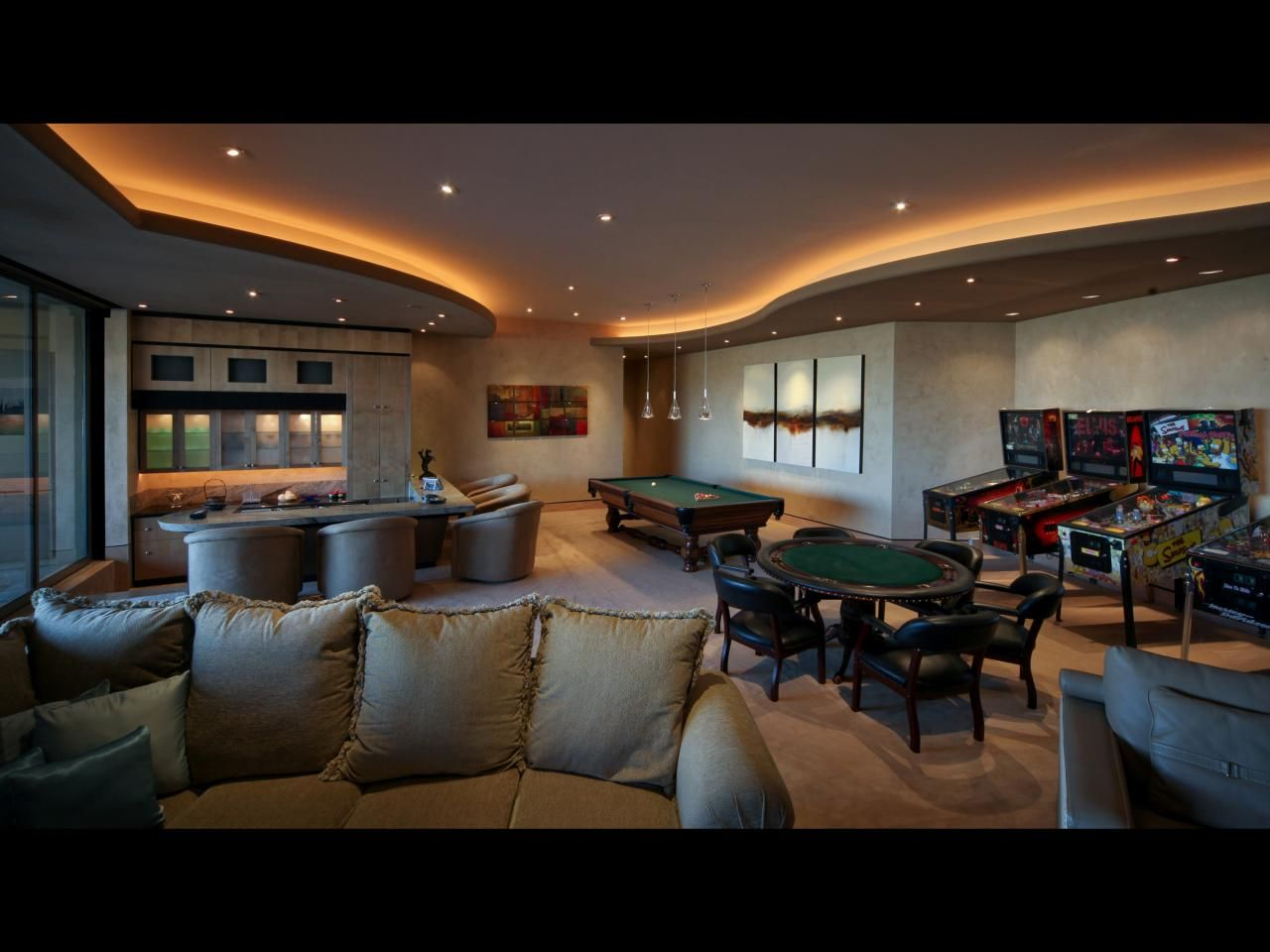 A Luxe Desert Mansion Houses This Extravagant Game Room Which
