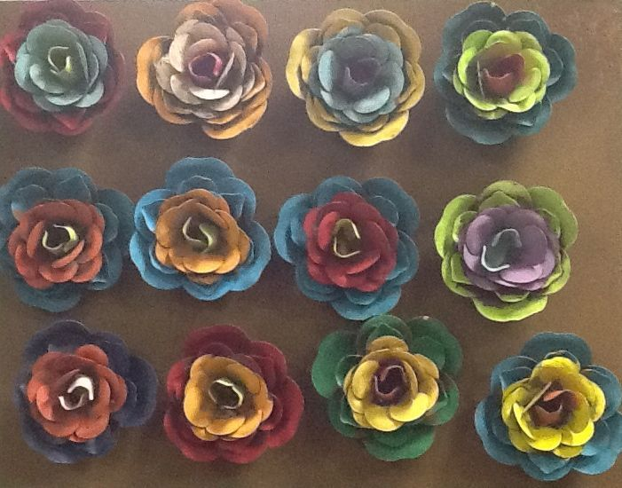Metal Flower Magnets!  Add them to frames, clocks, even the refrigerator!