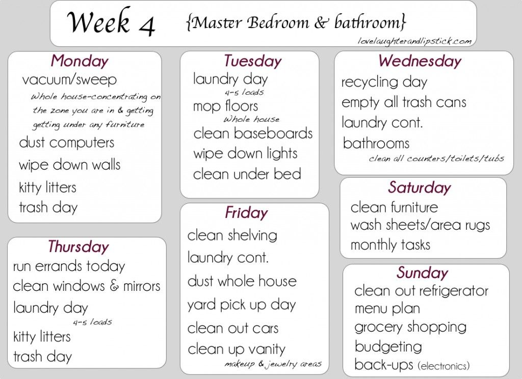 Detailed Cleaning List Week Printable Cleaning List Master