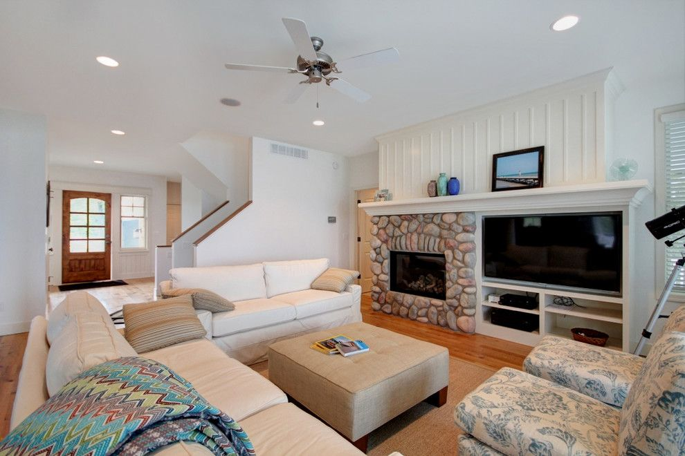 Side By Side Tv And Fp Wall River Rock Fireplace Tv Wall Family